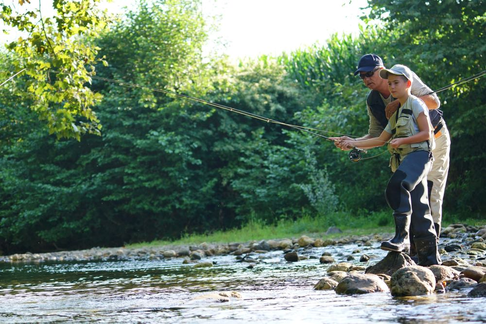Father and son fly fishing trip