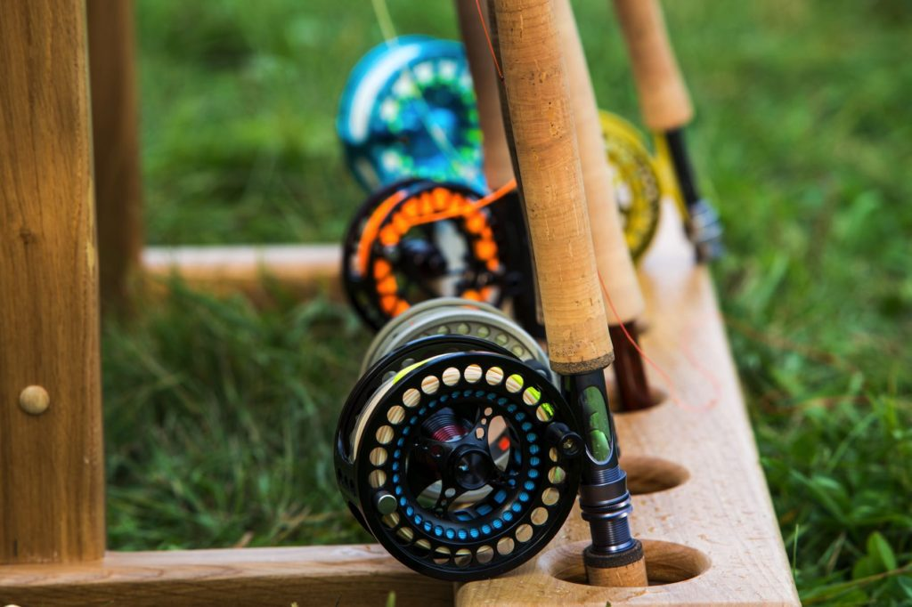 Fly Rods with Reels on Rack