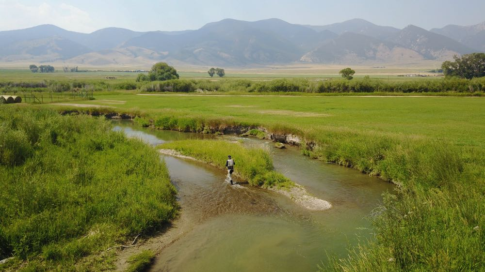 Fly Fishing Montana River Aerial View
