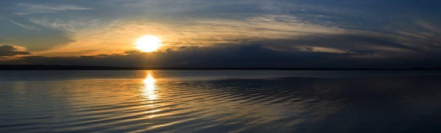 Missouri River Dawn, Sunrise panoramic at Lake Sharpe Popular Fly Fishing Location