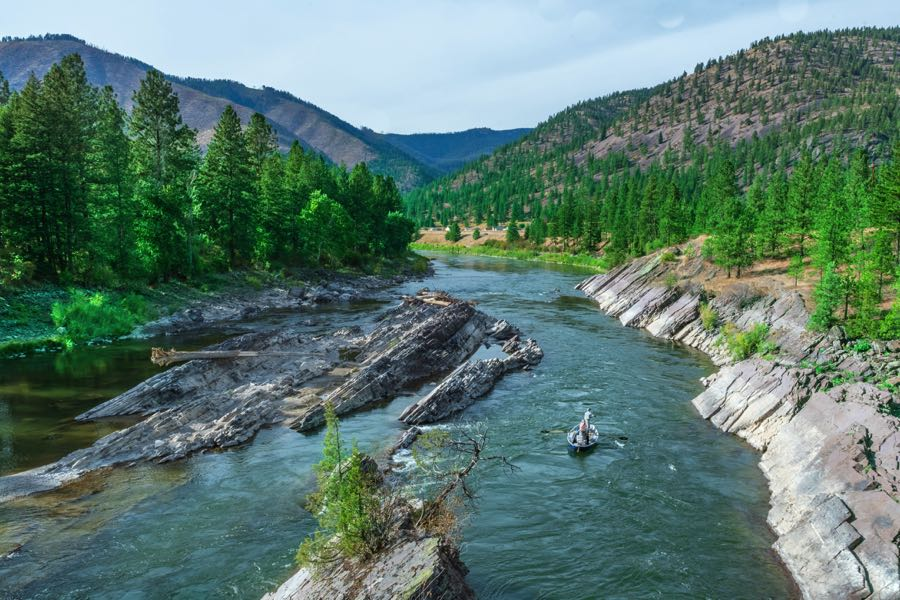 South Dakota Fly Fishing on a boat down the river