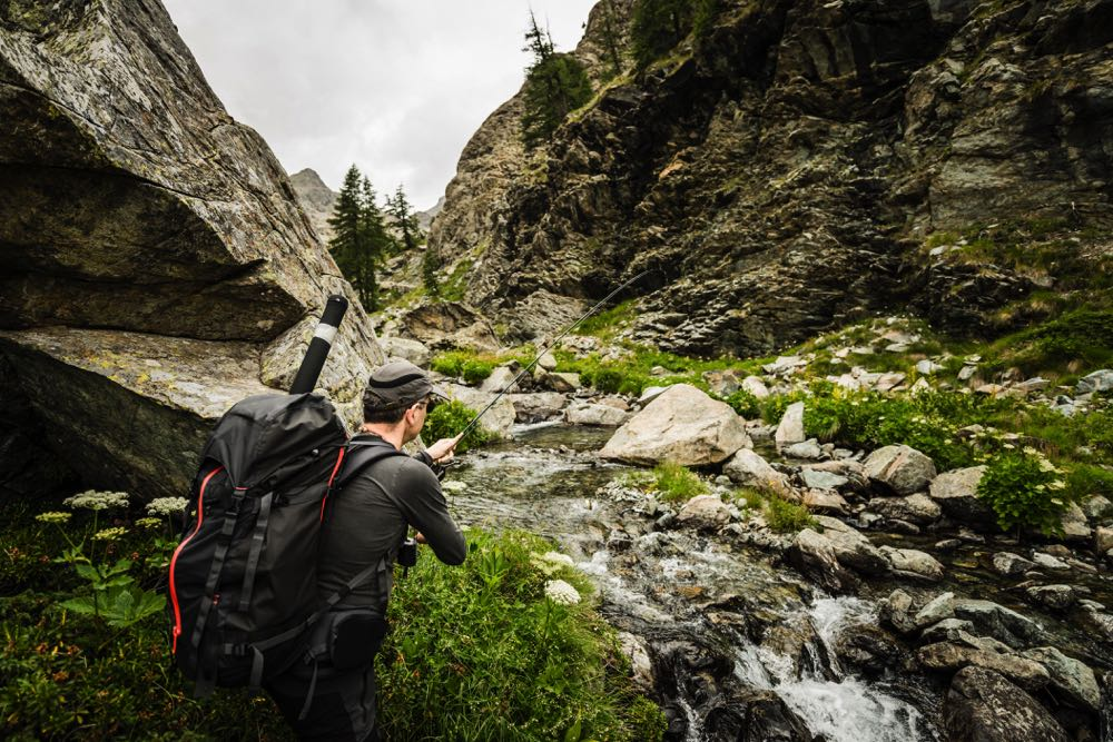 Springtime Fly Fishing River Backpack Hiking in Iowa