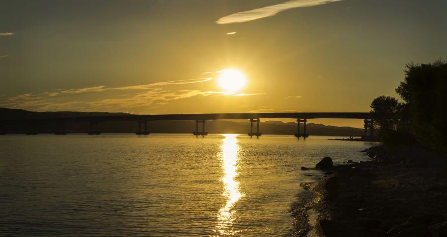 US Highway 44 Bridge at Reservoir in South Dakota at Sunset Popular Fly Fishing Spot