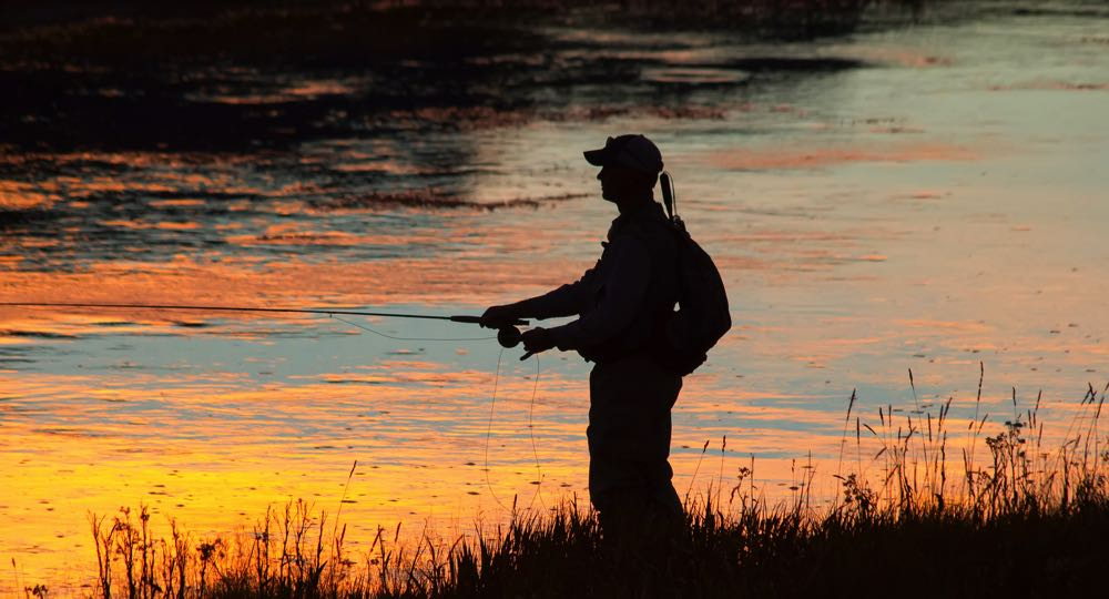 Fly fishing at sunset in Wyoming on a river