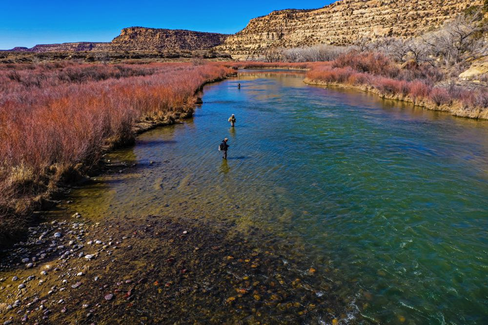 Aerial Photo - Fly Fishing on The San Juan River in New Mexico