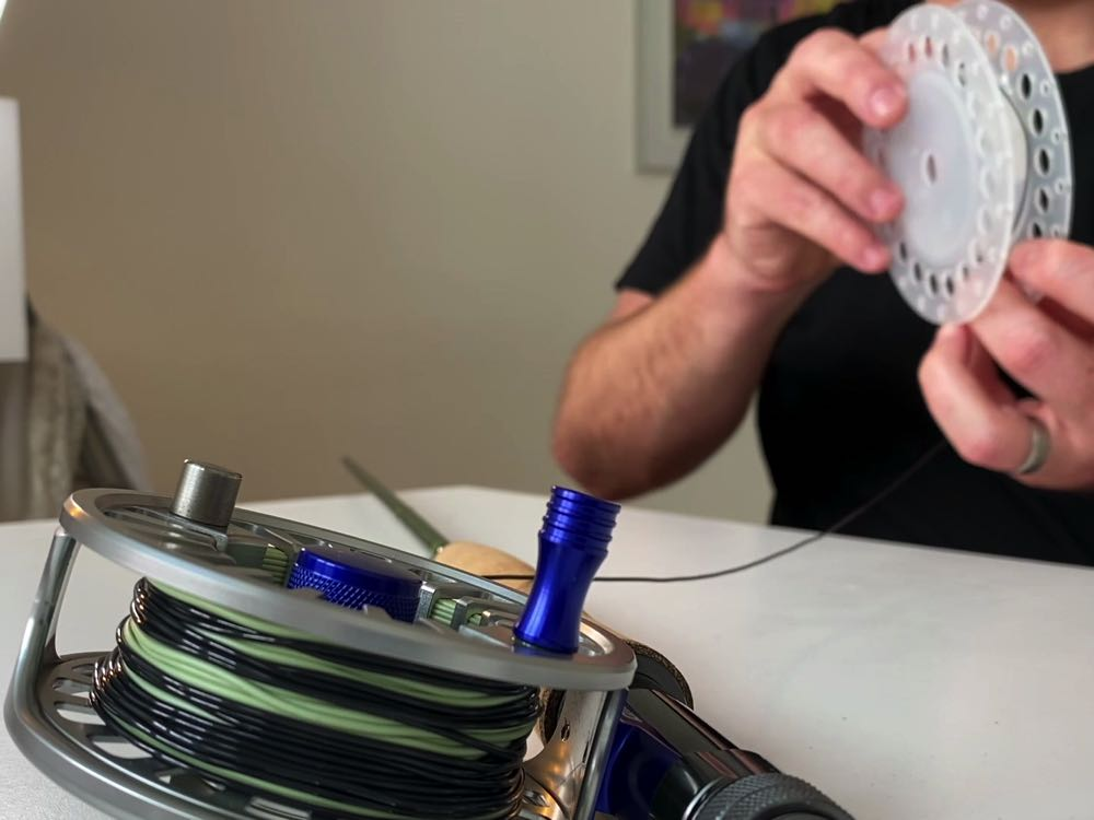 setting up fly line on a fly reel