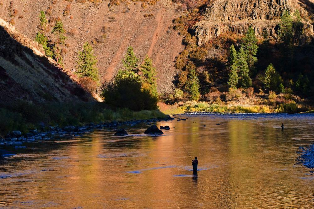 steelhead fishing on a river swing casting a fly rod