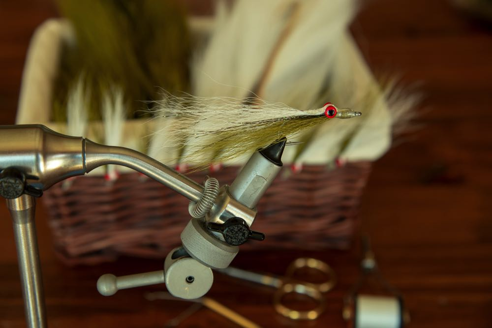 Clouser Minnow on a fly tying vise