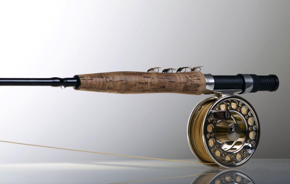 Fly fishing nymph rod and reel with nymph flies