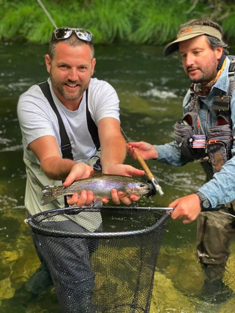 Wild Rainbow Trout Caught on a River Euro Nymphing in Portugal
