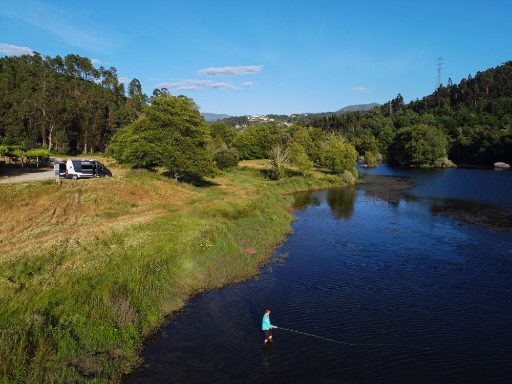 Fly fishing on the Lima River in Portugal
