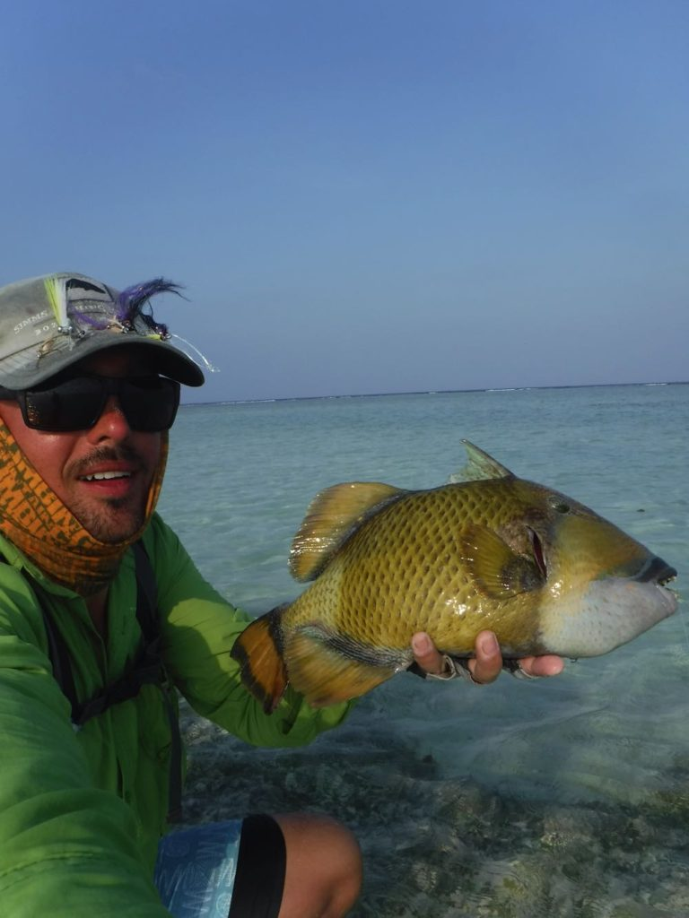 Me Holding a triggerfish caught fly fishing