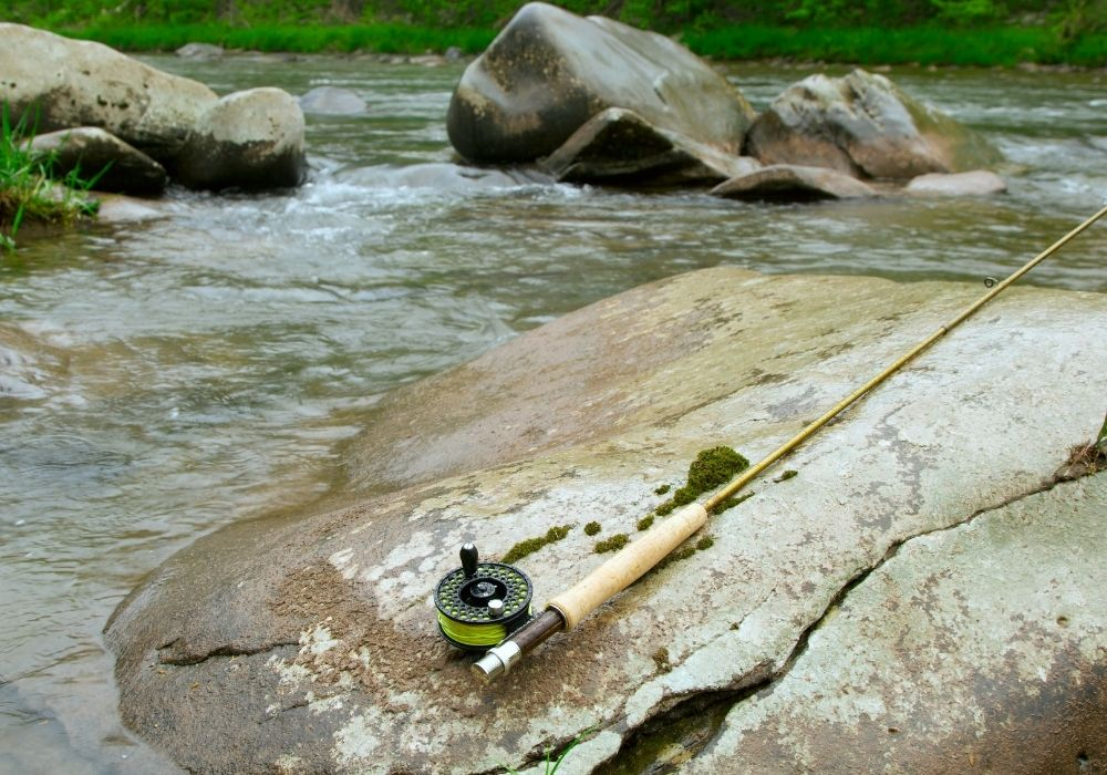 a fly rod and reel on the river