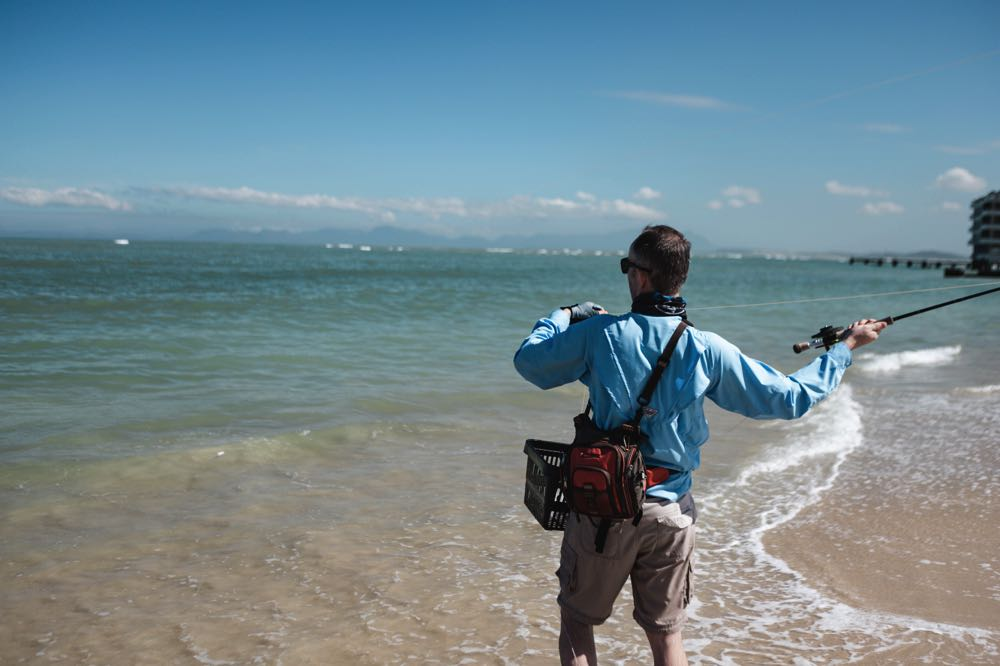 casting T&T Zone Fly Rod on a beach