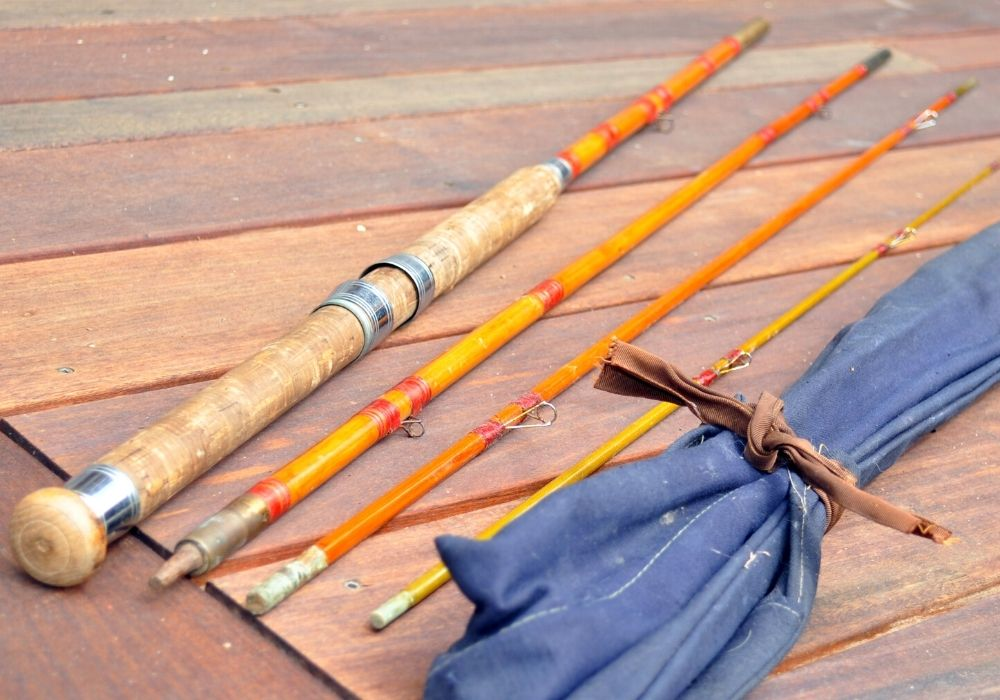 A set of bamboo fly rods