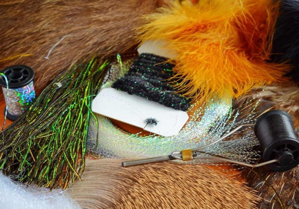 A set of fly tying flash and some fly tying materials