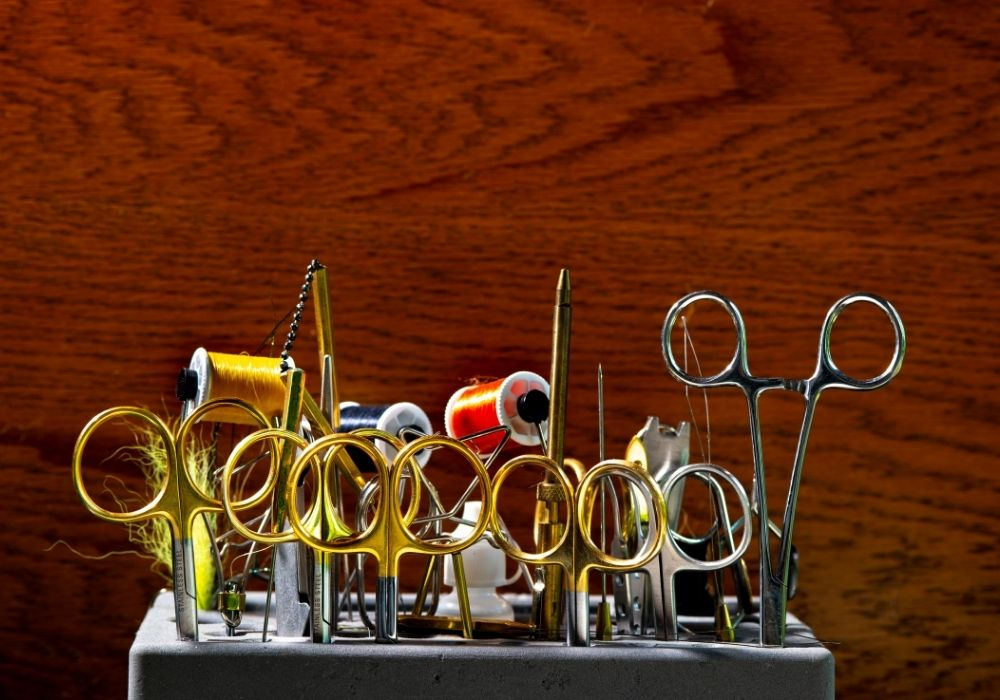 Fly tying clamps in a stand
