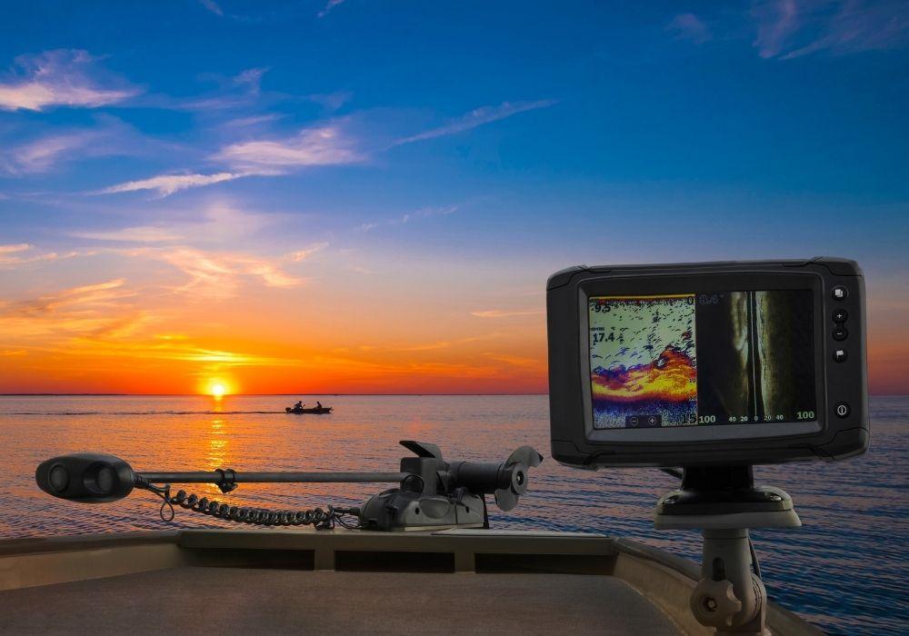 A Fishfinder, echolot, fishing sonar at the boat