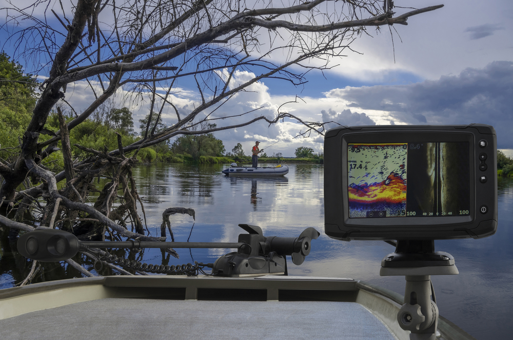 A close-up of Fishfinder, echolot, fishing sonar at the boat.