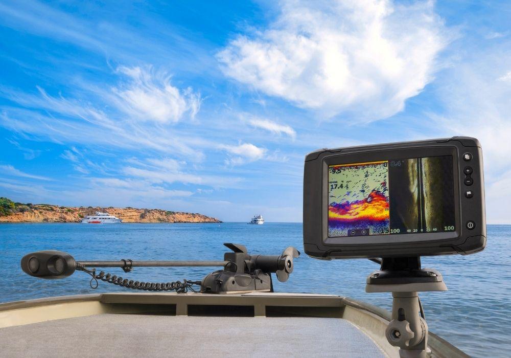 A close-up of fishing sonar, fish finder, echolot at the boat
