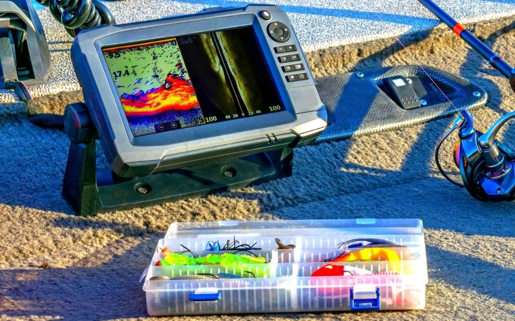 A close-up photo of fishfinder on a boat