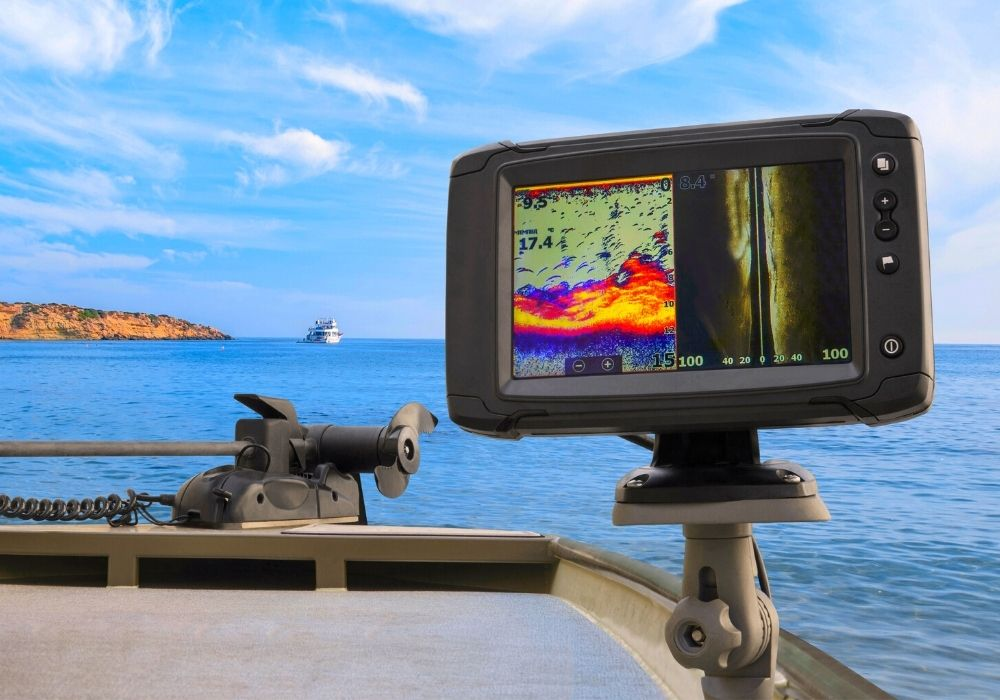 A close up photo of fishfinder on a boat.