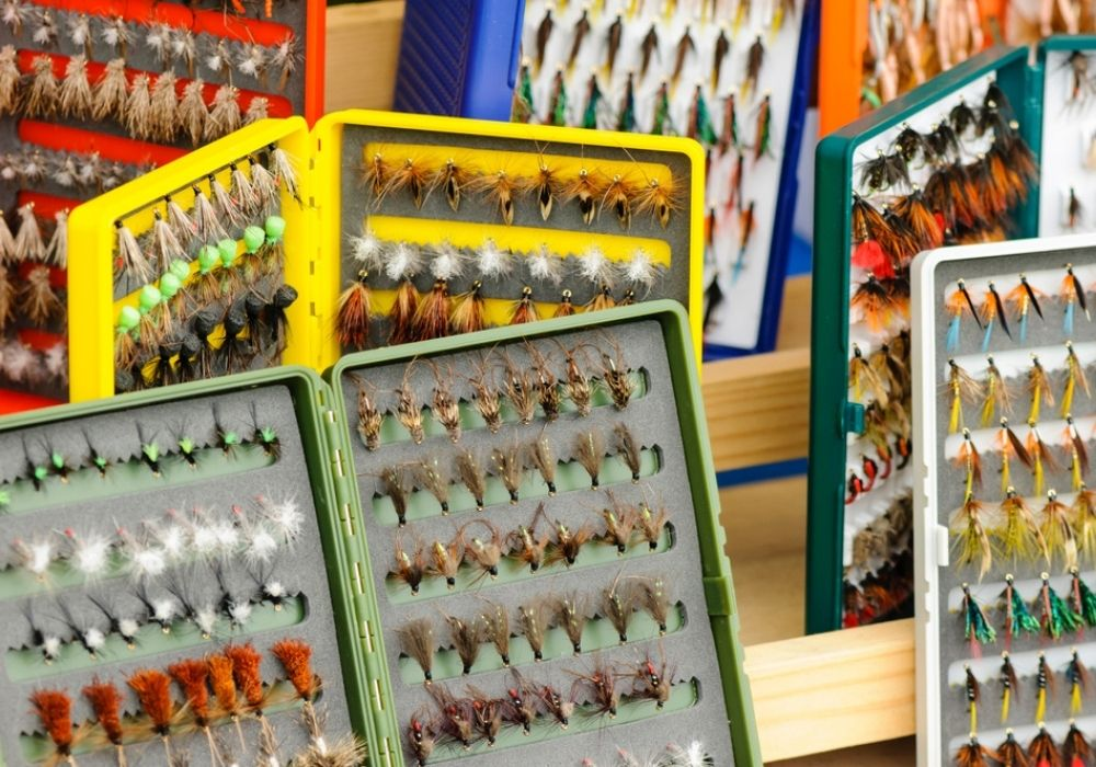 A selection of flies in fly boxes.