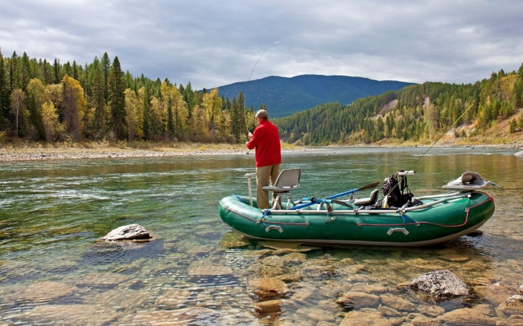 An angler fly fishing Flathead River in Montana.