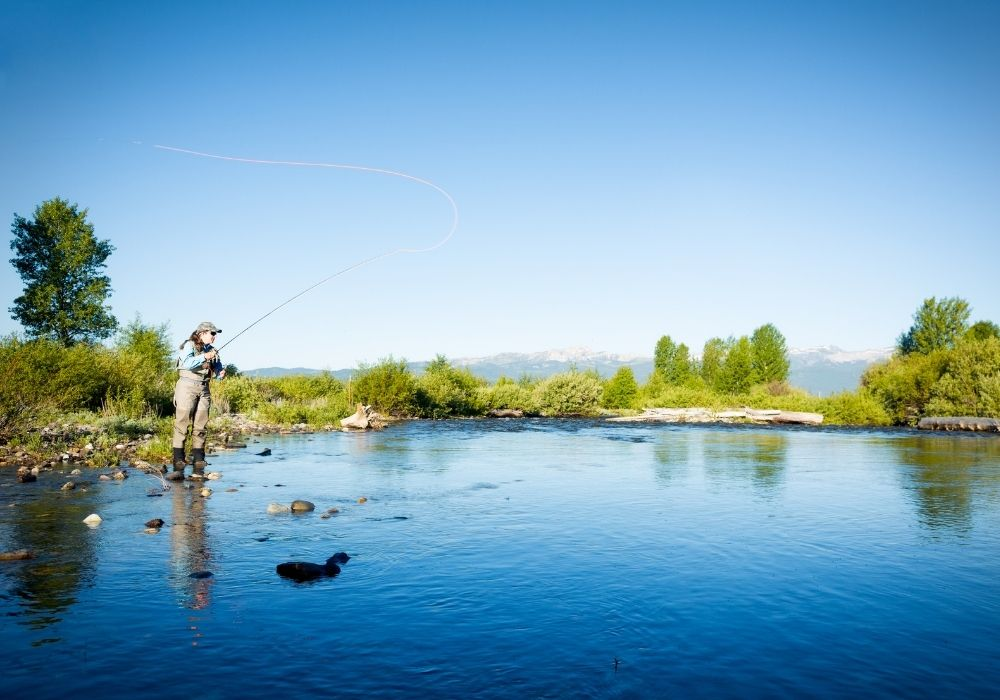 An angler fly fishing in the river of Missoula