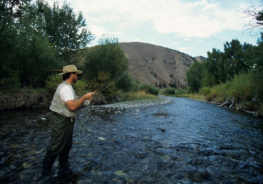 A fisherman fly fishing on a river