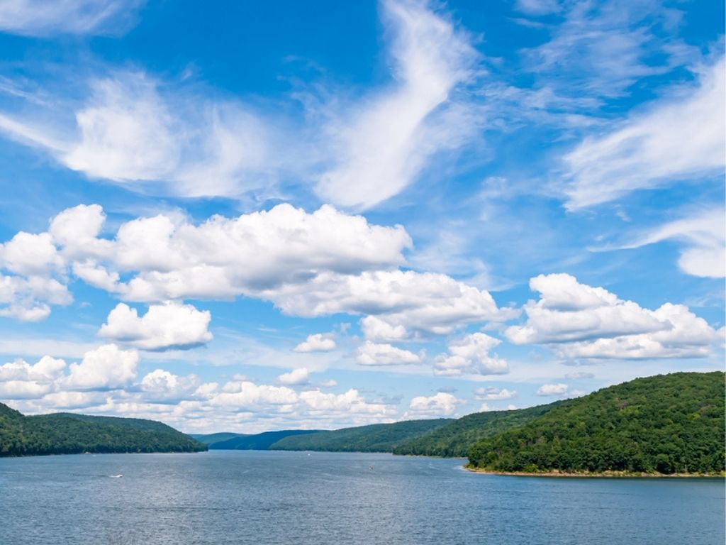 The Allegheny Reservoir in Warren County, Pennsylvania, USA on a sunny summer day.