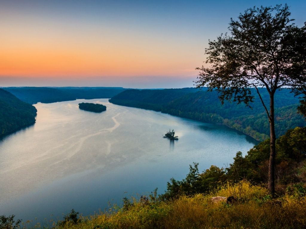 View of the Susquehanna River at sunset, from the Pinnacle in Southern Lancaster County, Pennsylvania