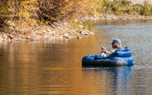 fly fishing from a float tube