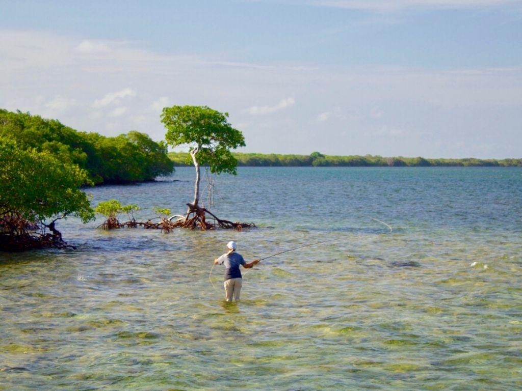 fly fishing off Islamorada in the Florida Keys