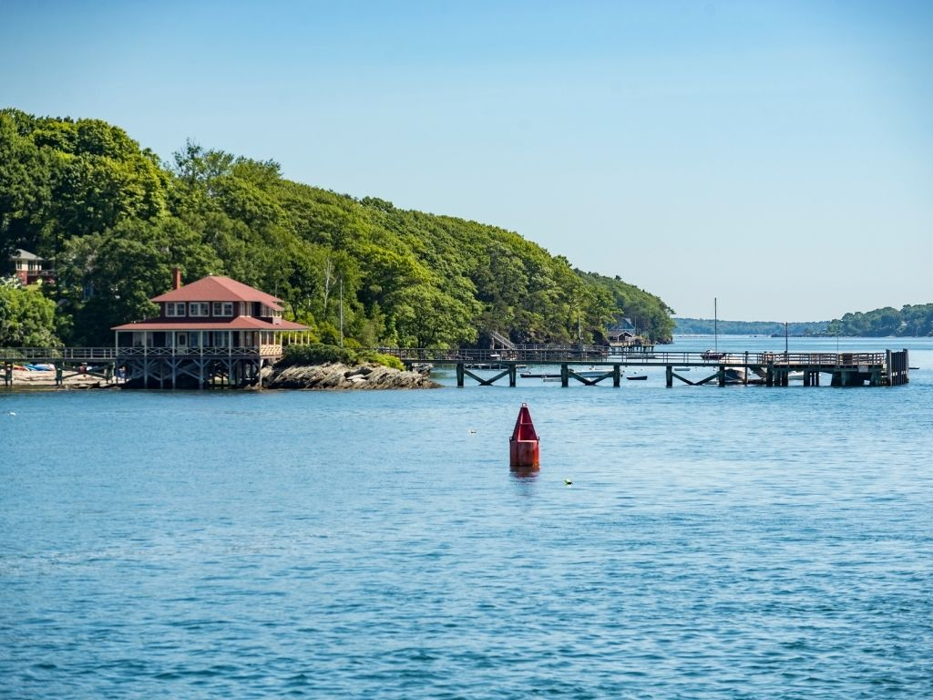 the beautiful Casco Bay in Maine for fly fishing