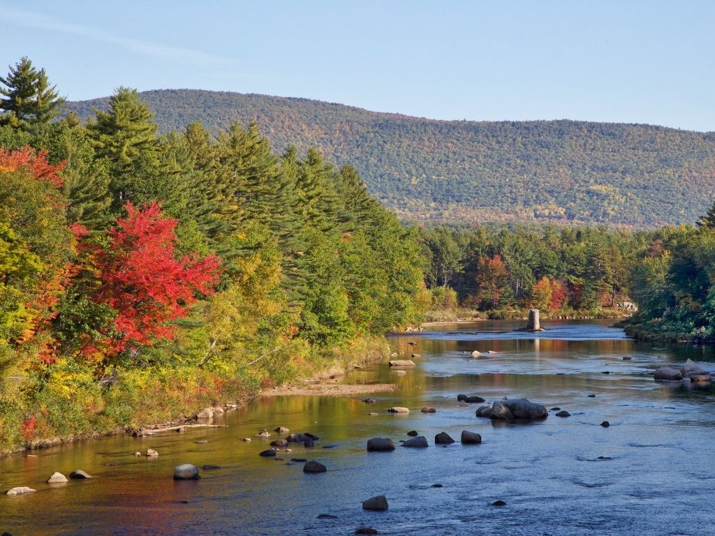 fly fishing in Saco river in New Hampshire