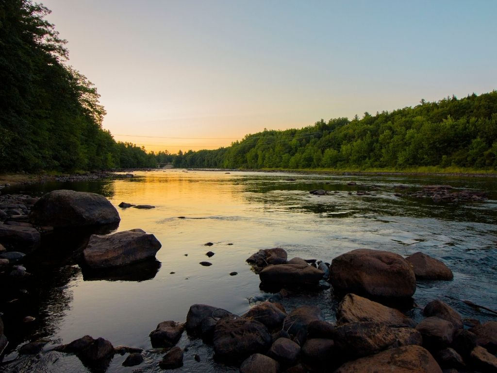 sunset on the Merrimack River in New Hampshire