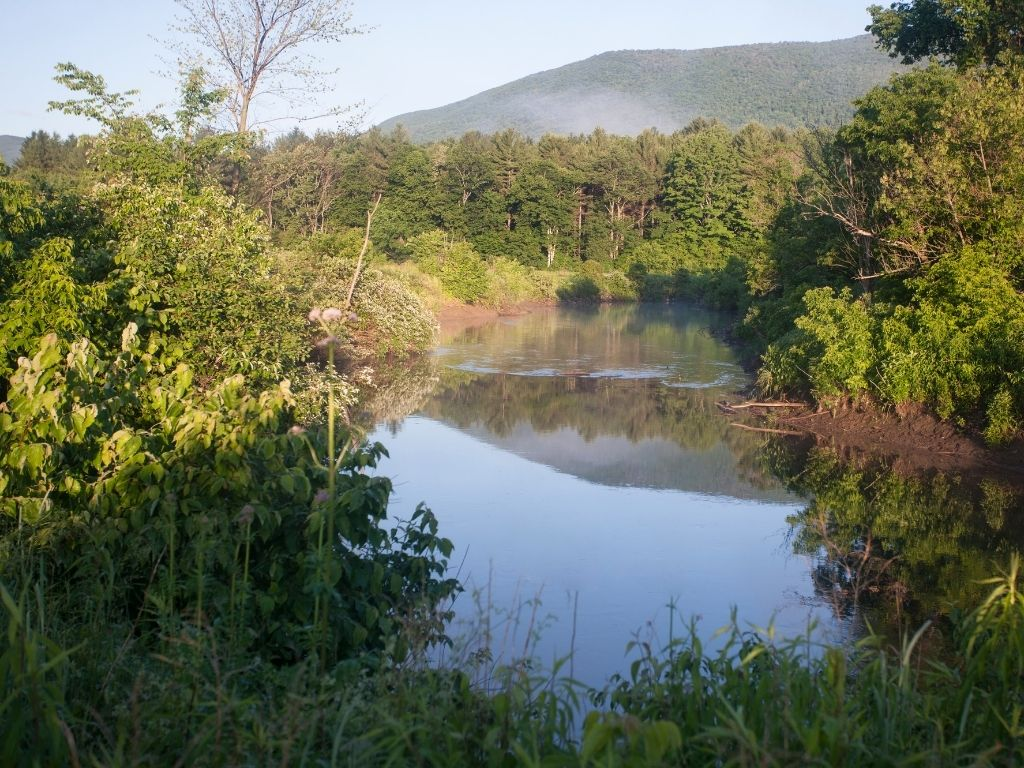 the beautiful morning in the the Battenkill river in southern Vermont which is renowned for fly fishing trout