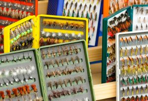 boxes of various assorted wet flies and dry flies